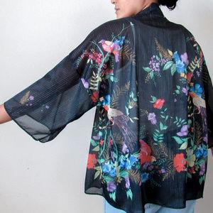 VINTAGE Dark Floral Kimono Duster Jacket Sheer